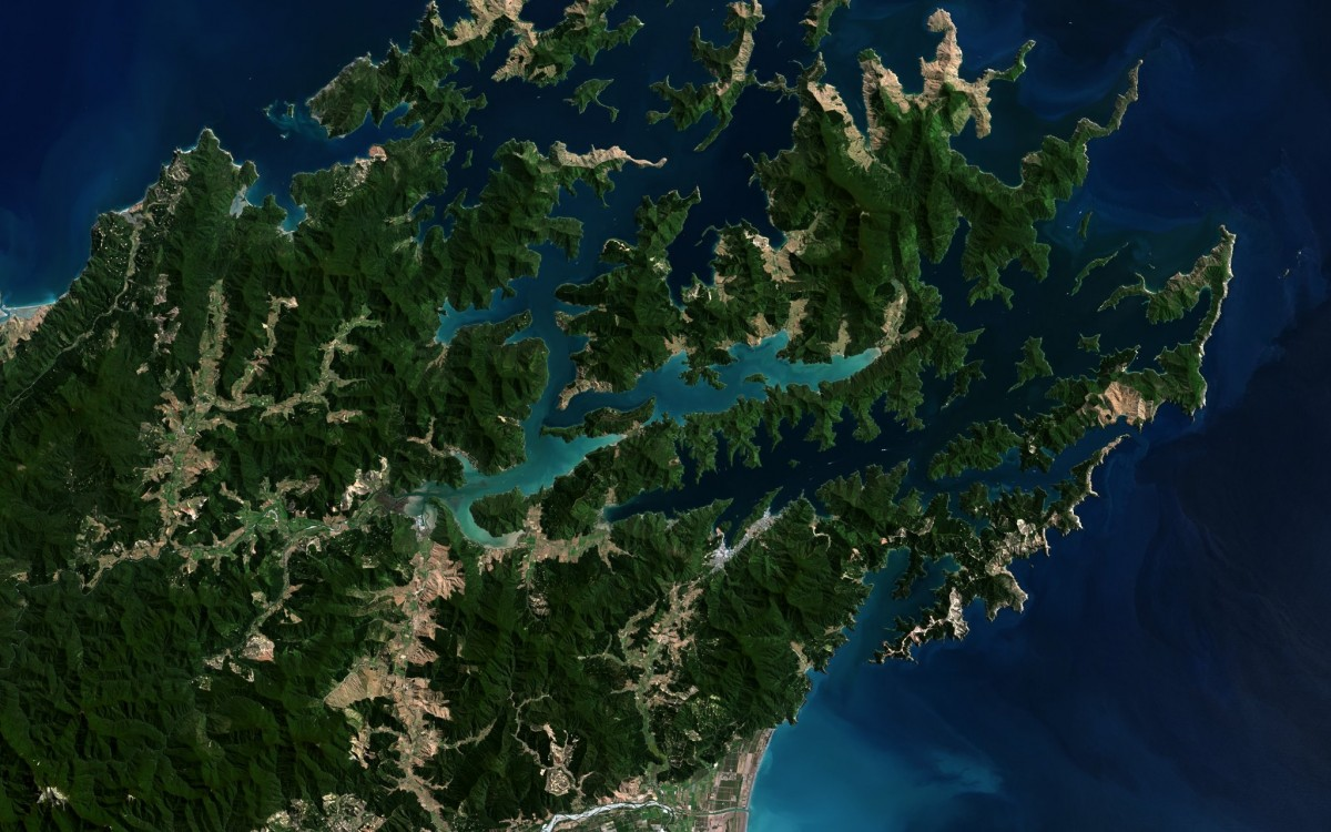 Marlborough Sounds, New Zealand, Landsat-8