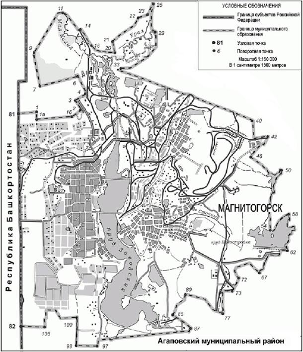Границы территории интереса, Челябинская обл. 395 кв.км