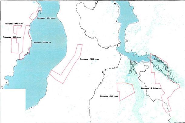 Общая схема лицензионных участков, 5800 кв.км