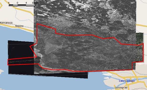Схема покрытия на северный (north) район, площадь 390 кв.км