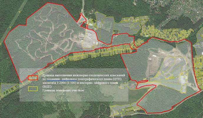 Граница выполнения топографо-геодезических работ по обновлению и созданию картографического материала на кластеры Сопка и Радуга
