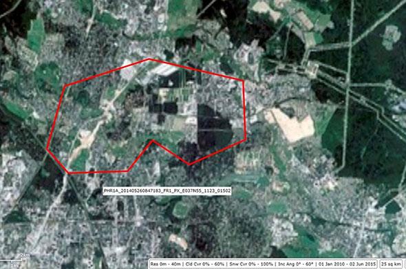 Схема изображений «Pleiades» на район «Тарасовское», площадь – 25 кв.км