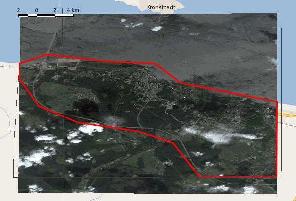 Схема покрытия на западный (west) район, площадь 108 кв.км